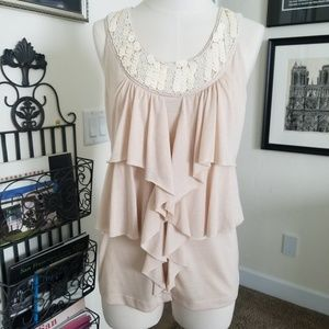 Bobeau sleeveless blouse size S embellished euc